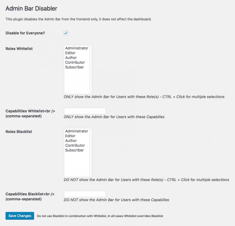 admin bar disabler settings page