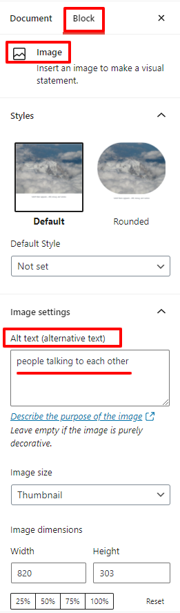 image block settings with alt text showing