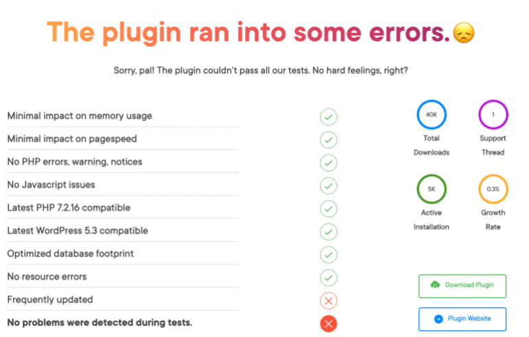 informationa bout the plugin