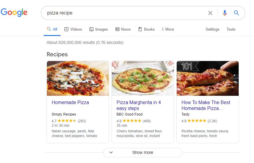 pizza recipe schema