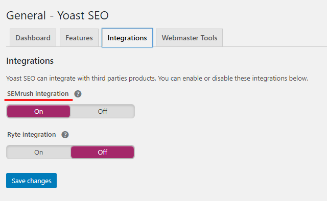 Yoast SEO integration with SEMrush setting