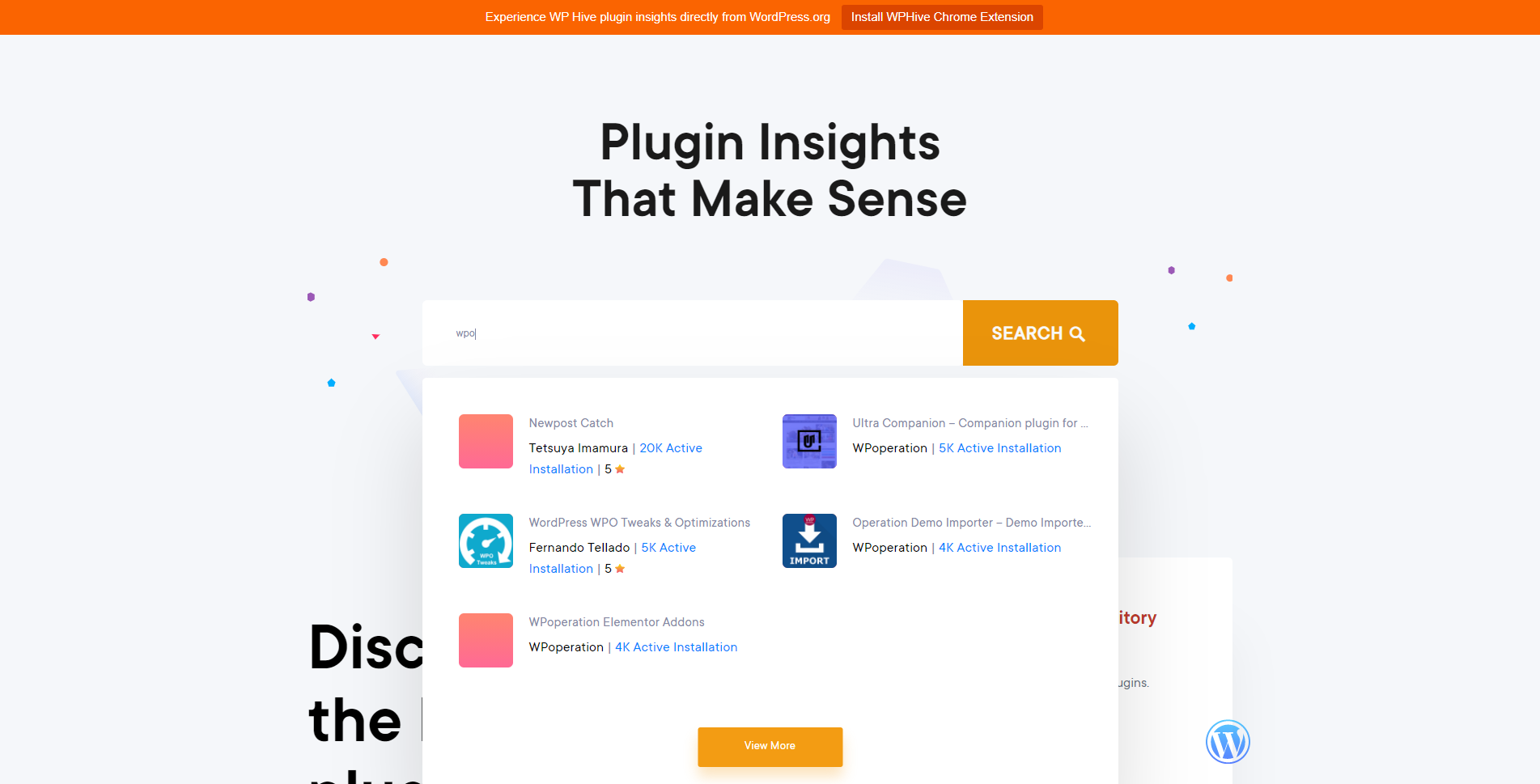 wp hive plugin search engine for example