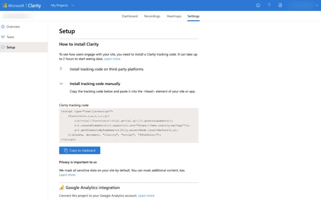 Microsoft clarity setup code
