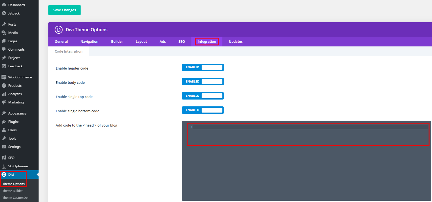 Microsoft clarity code in header with Divi