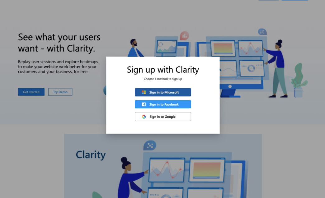 Microsoft clarity sign up window