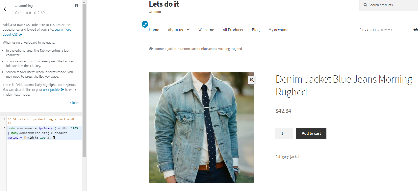storefront product page without sidebar full width