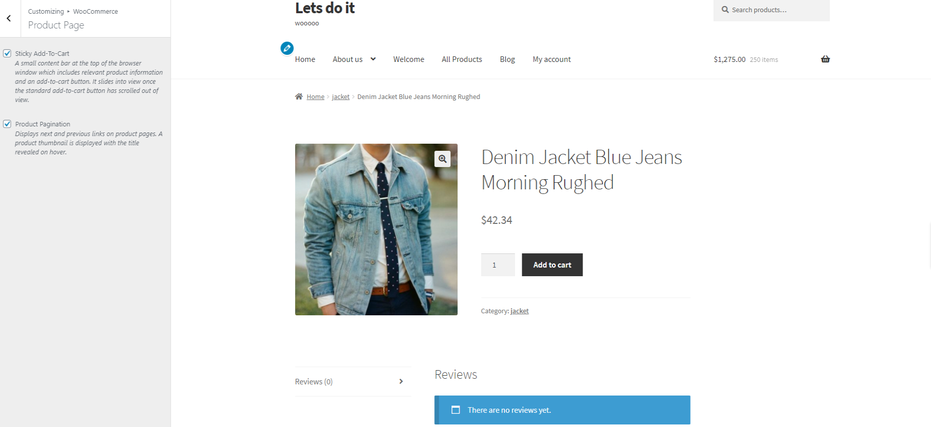 storefront product page without sidebar