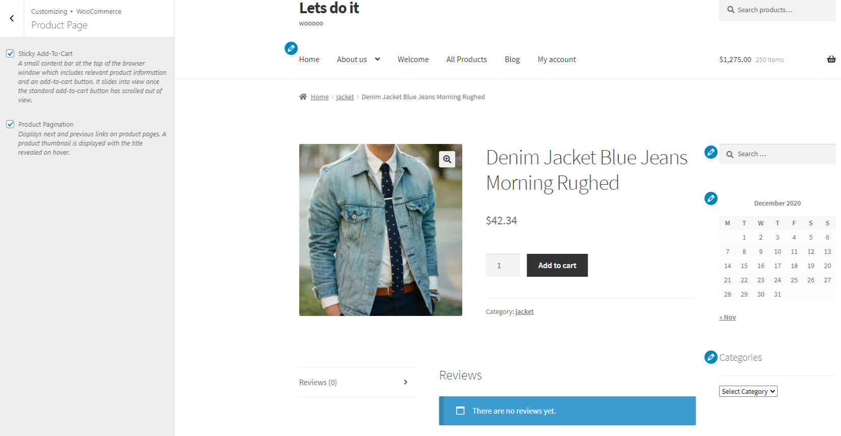 storefront product page with sidebar