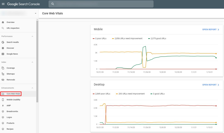 Google core web vitals google search console