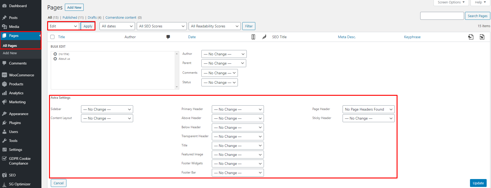 Astra options for pages when bulk editing with Astra bulk edit plugin