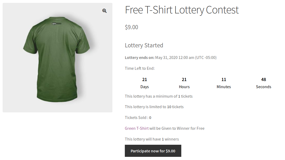 Lottery for woocommerce lottery product example