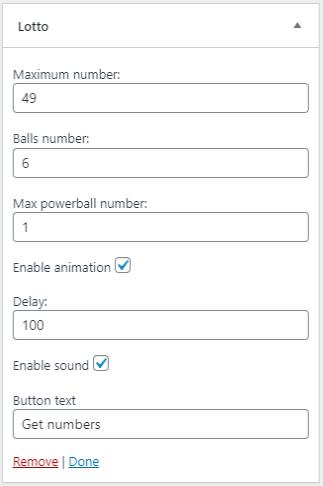 lotto widget settings