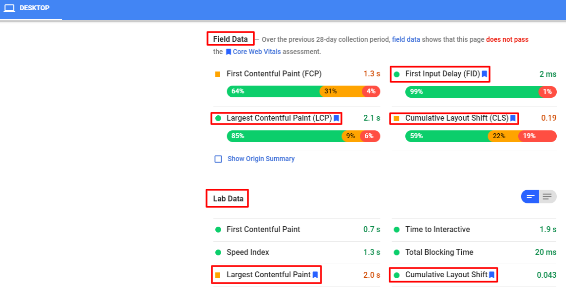 Google core web vitals pagespeed insights