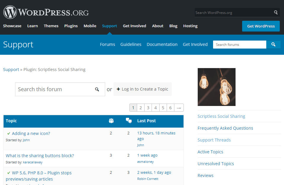wordpress support forums for a specific plugin