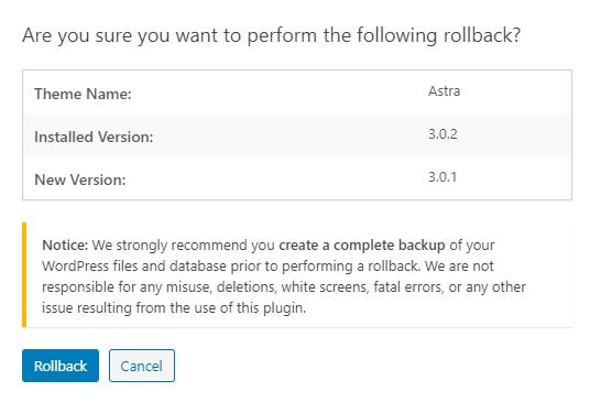 wp rollback warning to make backups