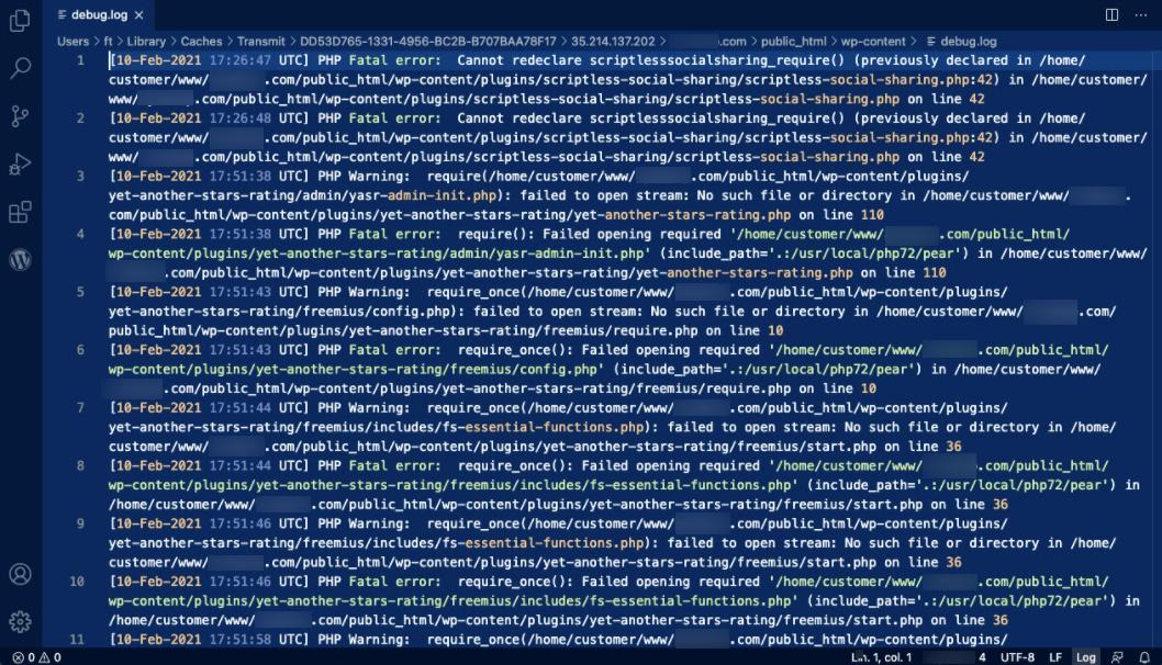 debug.log file