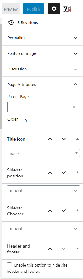 proteo theme page options