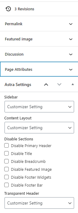 astra theme page options