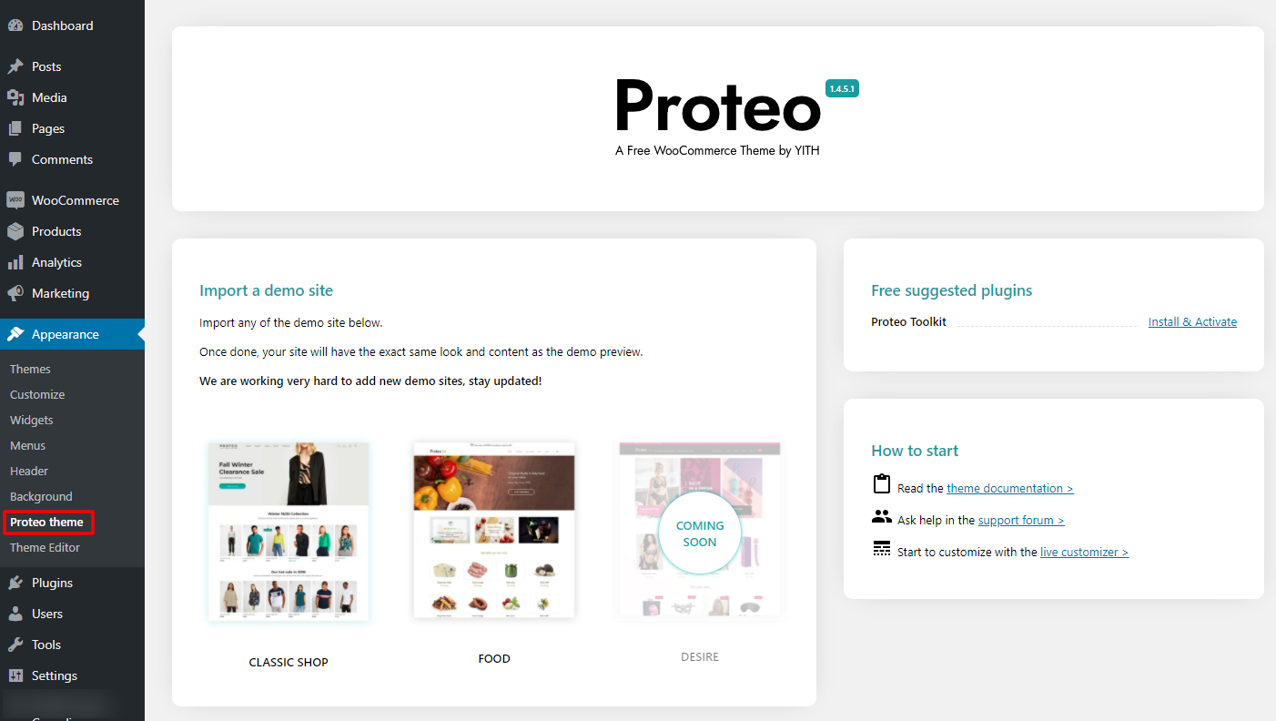 proteo theme recommendations
