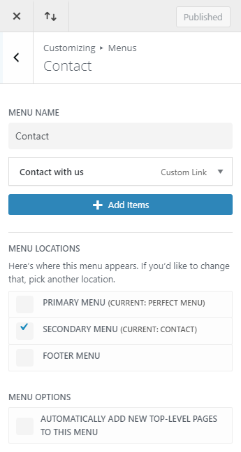 contact secondary menu