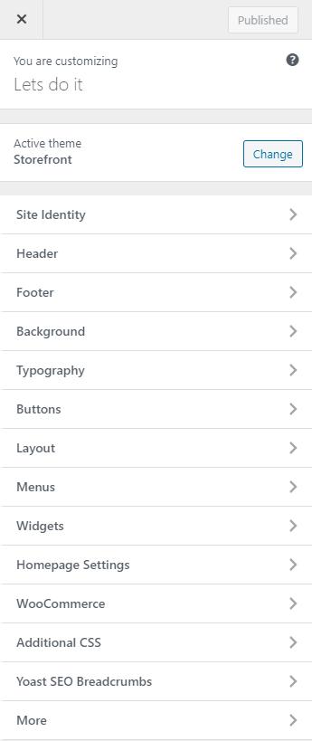 Storefront theme customizations