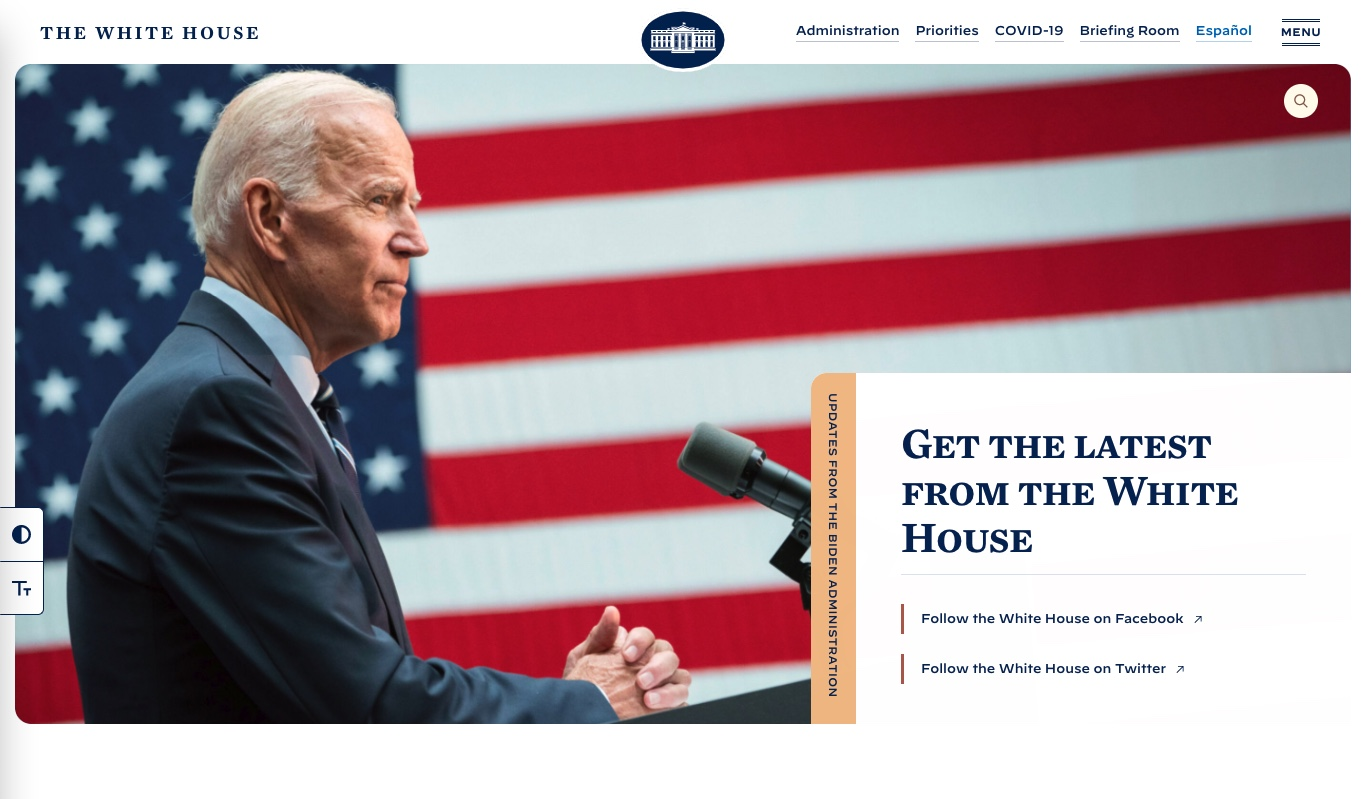 white house website made with WordPress