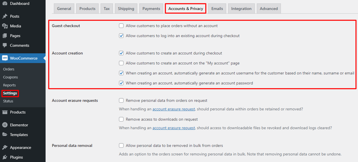 woo settings for automated info for account creation