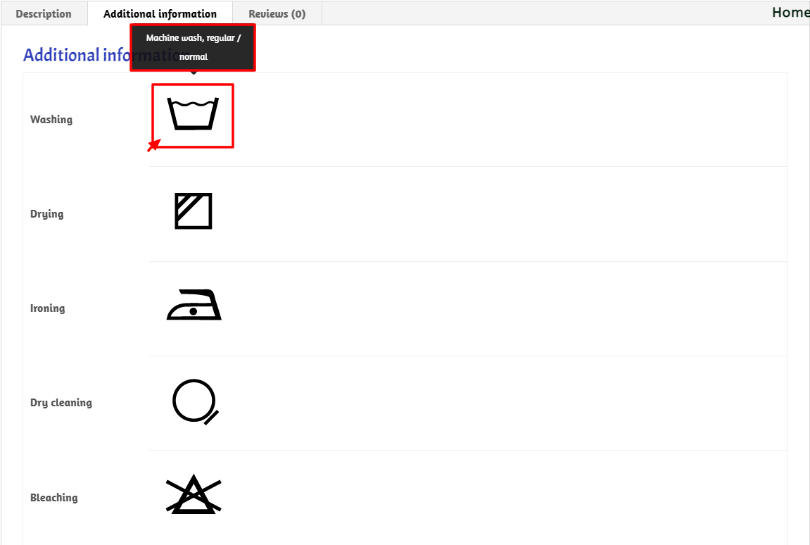 wash care symbols product view