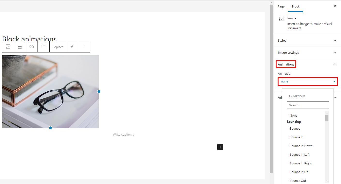 blocks animation options