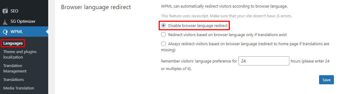 WPML browser language redirect