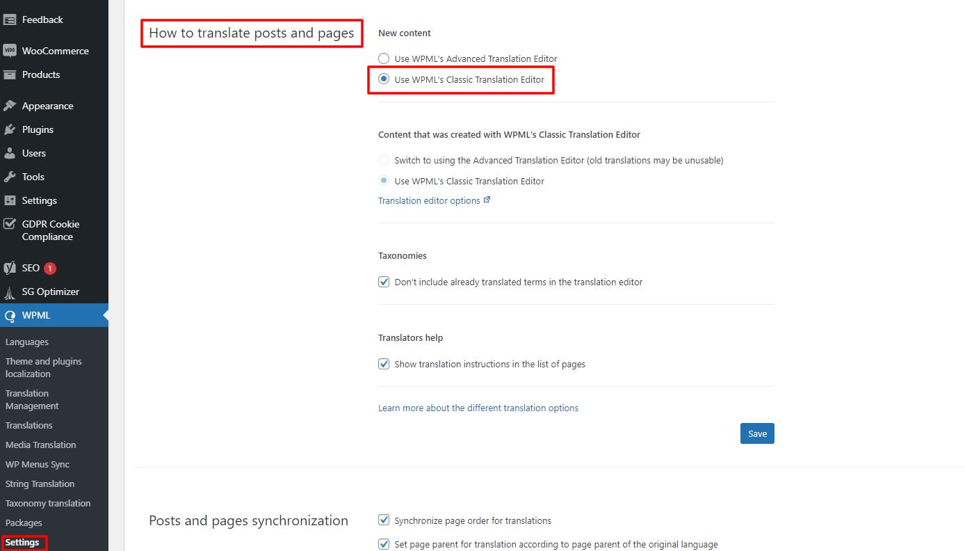 WPML translation editor options