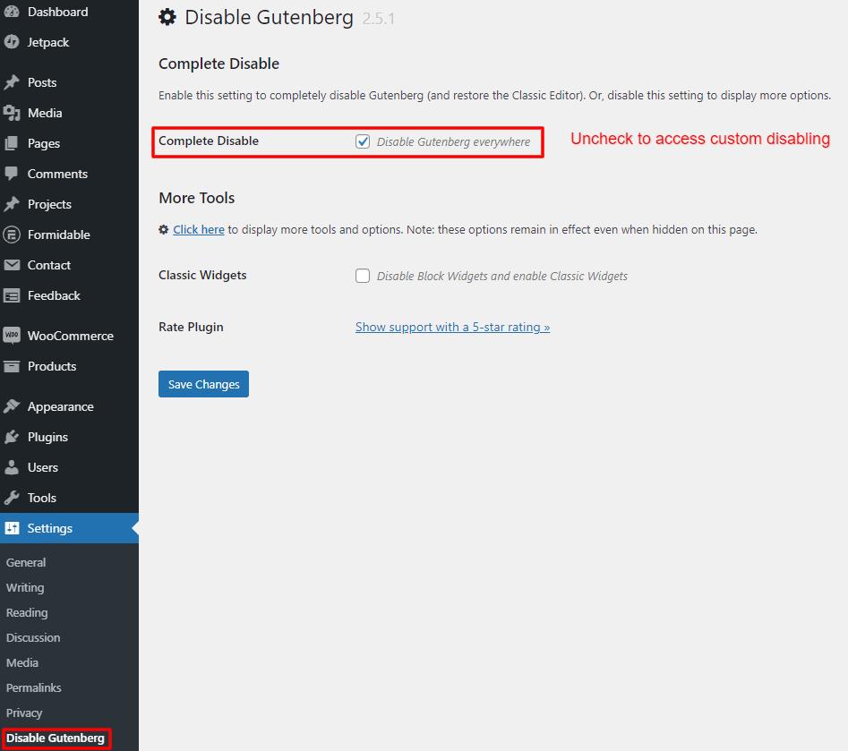 complete disable Gutenberg setting