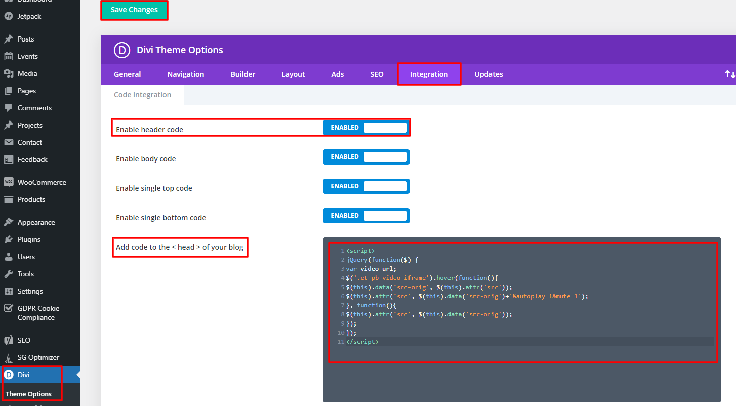 header integration to add the code