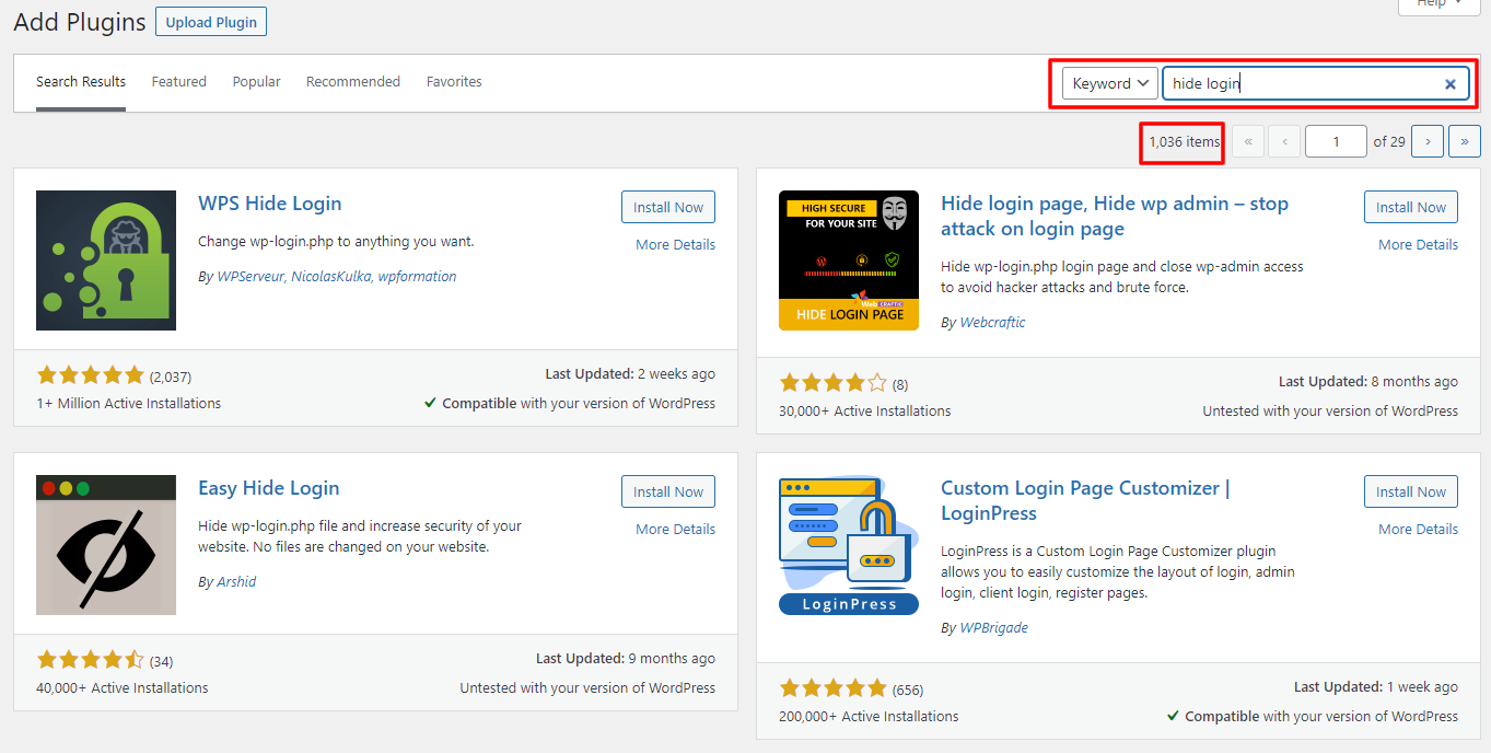 hide login plugins search