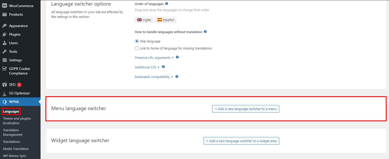 WPML language switcher  and menu language switcher settings