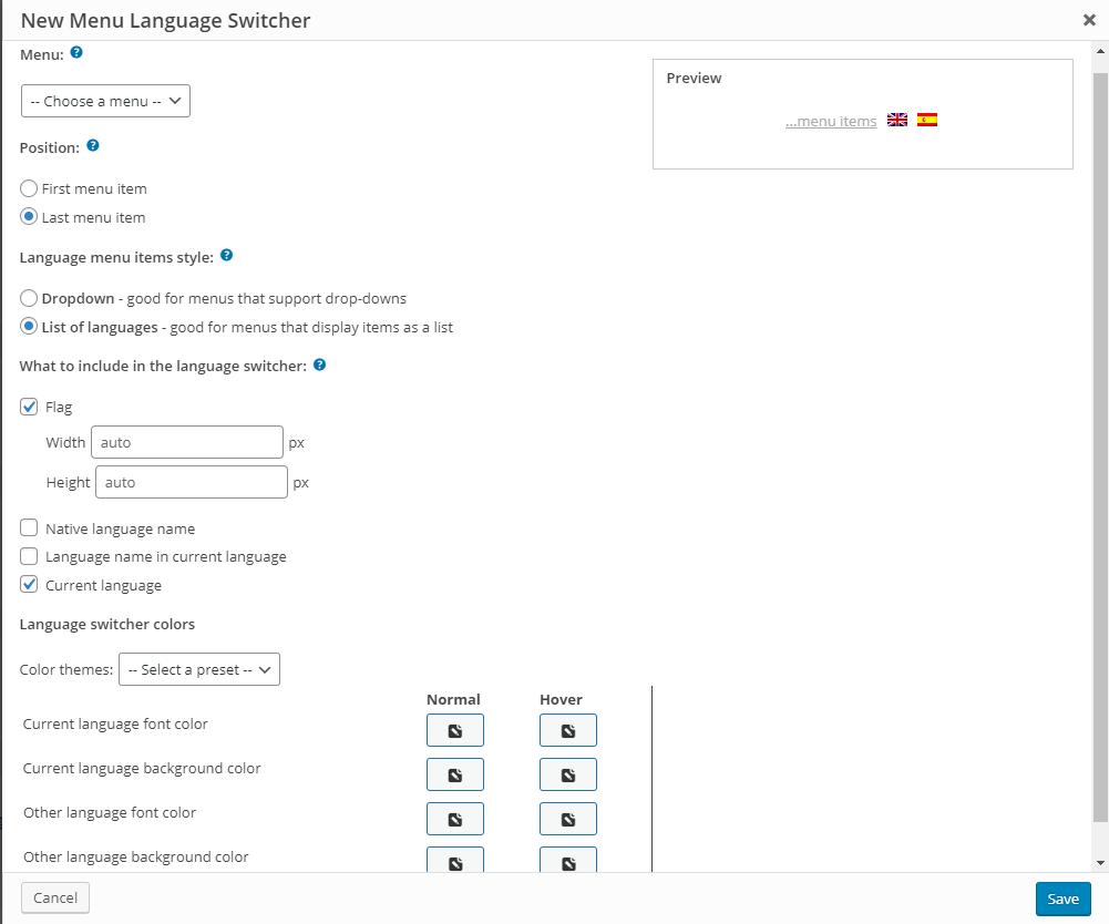 WPML menu language switcher customization settings