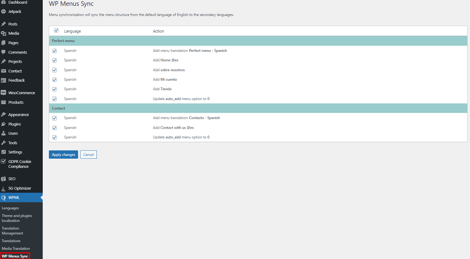 WPML menu syncing
