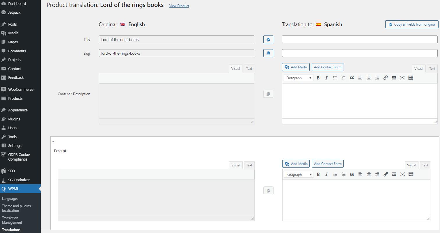 WooCommerce multilingual product translation