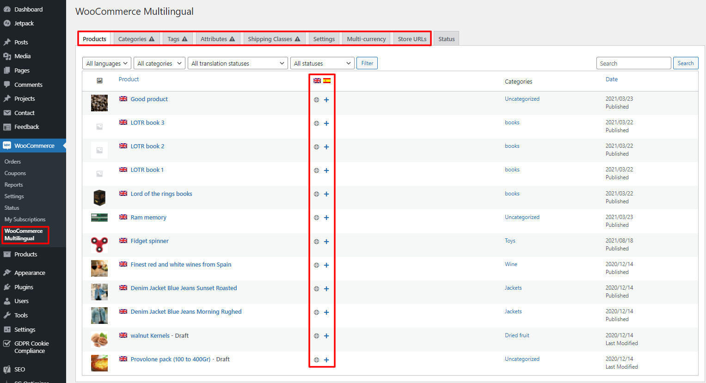 WooCommerce multilingual product translation access