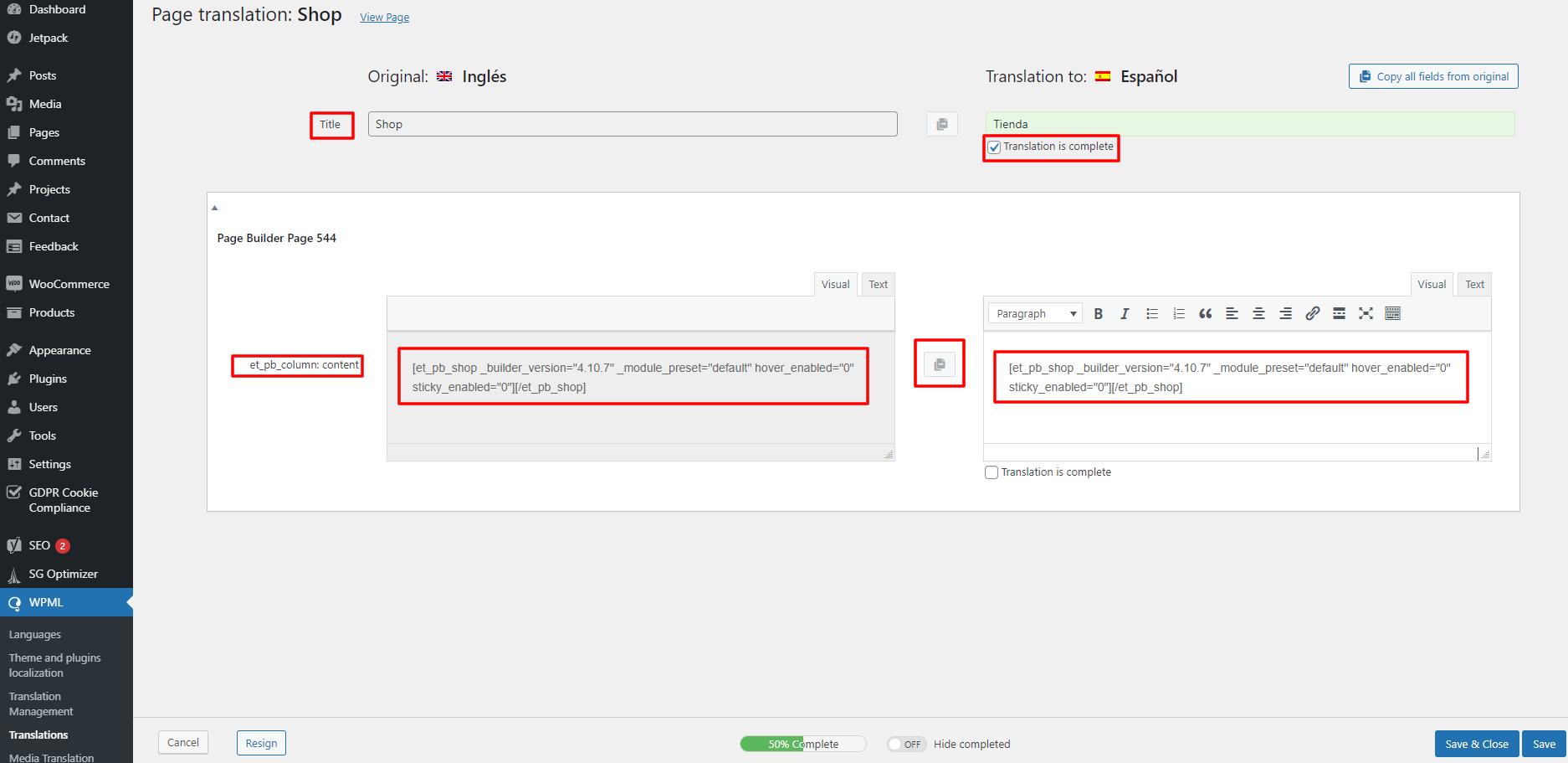 WPML classic translation editor with divi modules