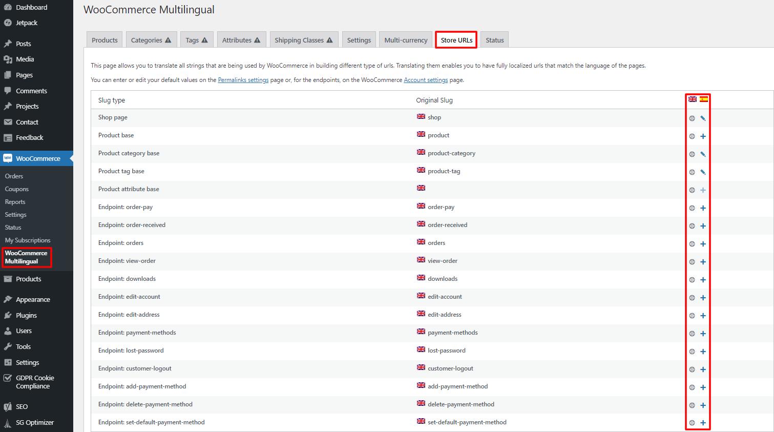 WooCommerce multilingual URL translation