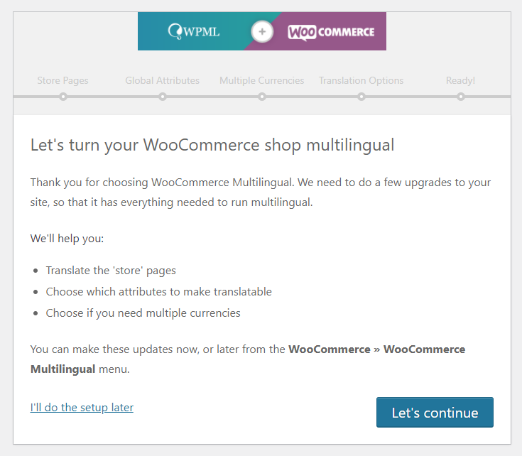 WPML and WooCommerce configuration wizard