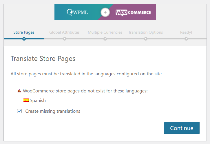 WPML and WooCommerce configuration wizard create missing translations