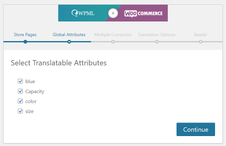 WPML and WooCommerce configuration wizard translatable attributes