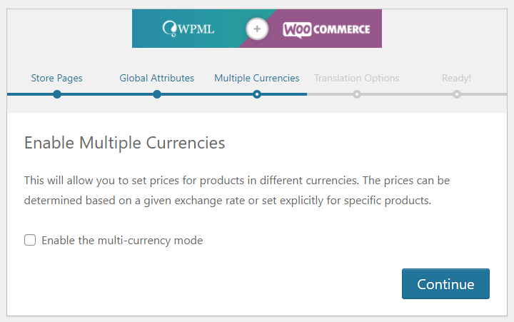 WPML and WooCommerce configuration wizard enabling currencies