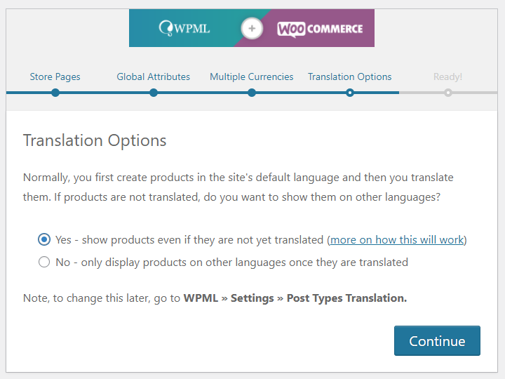 WPML and WooCommerce configuration wizard product translation options