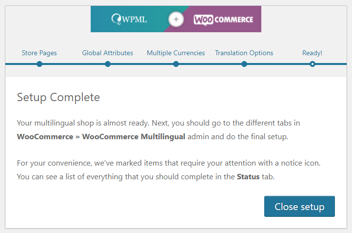 WPML and WooCommerce configuration wizard complete